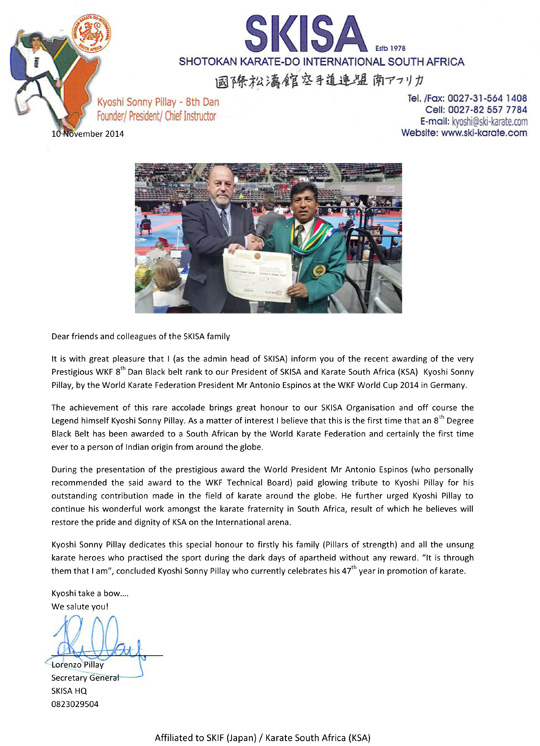 Kyoshi Sonny Pillay recieves WKF 8th Dan - 1