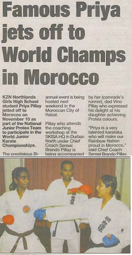 news coverage - Famous Priya jets off to World Champs in Morocco 1a