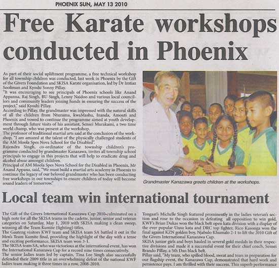 news coverage - Free karate Workshops conducted in Phoenix 1a