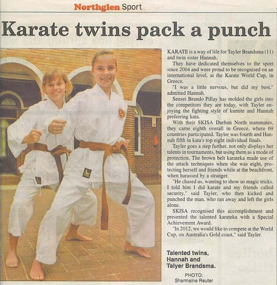 news coverage - Karate Twins pack a Punch