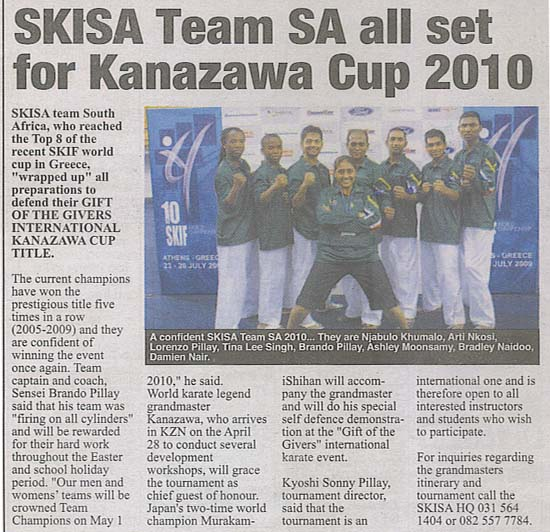 news coverage - SKISA Team SA all set for Kanazawa cup 2010 1a