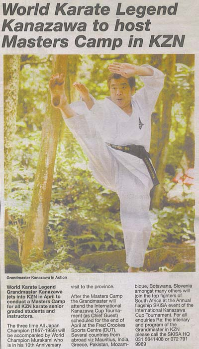 news coverage - World Karate Legend Kanazawa to host Masters Camp in KZN 1a